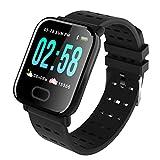Oasics Fitness Armband, Smartwatch für Damen Herren, A6 Wasserdichte Smart Watch Pulsuhr Armband Armband für iOS Android (Schwarz)