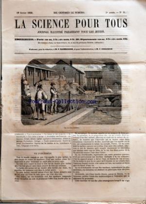 SCIENCE POUR TOUS (LA) [No 11] du 18/02/1858 - VIS D'ARCHIMEDE - LA TERRE ET LES ANIMAUX - DU CALORIQUE - LA CANNE A SUCRE - ACADEMIE DES SCIENCES - ASTRONOMIE - CHIMIE - CHIMIE VEGETALE APPLIQUEE A L'ALIMENTATION - CHIMIE ORGANIQUE - HYDRAULIQUE - GEOLOGIE - FAITS SCIENTIFIQUES - SOCIETE IMPERIALE D'ACCLIMATATION - SIGNAUX SUR LES CHEMINS DE FER - LUBRIFICATION A L'EAU - TELEGRAPHE SOUS-MARIN. par Collectif