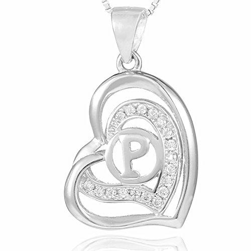 Morella® Damen Halskette Herz Buchstabe P 925 Silber rhodiniert mit Zirkoniasteinen weiß 46 cm