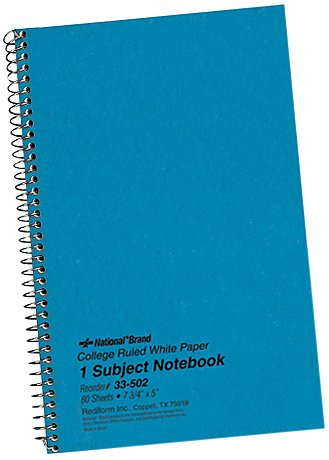 Subject Wirebound Notebook, College Rule, 6 x 9-1/2, WE, 80