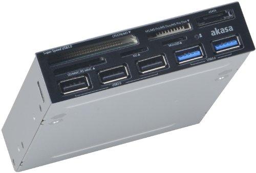 Akasa AK-ICR-17 interner USB 3.0 Kartenleser (3x USB card reader, USB 2.0 HUB und 3x USB port)schwarz