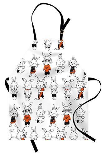 ABAKUHAUS Komisch Kochschürze, Nette Retro Häschen-Kaninchen mit Kostümen Jack Hare Funky Bunnies Carrot Sketch Style, Farbfest Höhenverstellbar Waschbar Klarer Digitaldruck, Orange Weiß