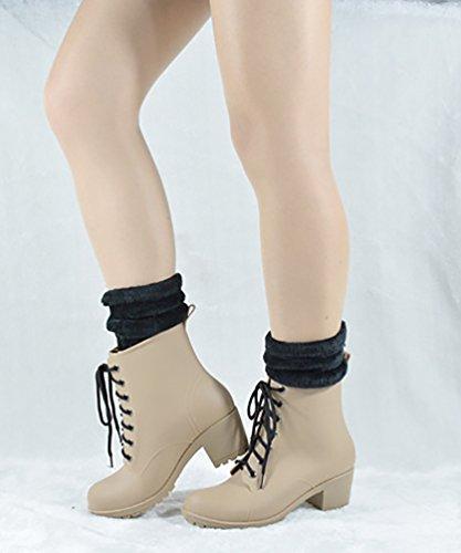 LvRao Frauen Hoher Absatz Gummistiefel Schnürung Schnee Regen Schuhe Wasserdichte Wellies Kurze Stiefel Schnürstiefel Weiß mit Socken