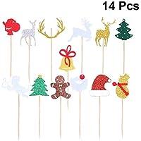 BESTOYARD 14pcs Natale Cupcake Toppers Glitter Babbo Natale Renna Albero di  Natale Campana Torta Picks Materiale 57f1957607c7
