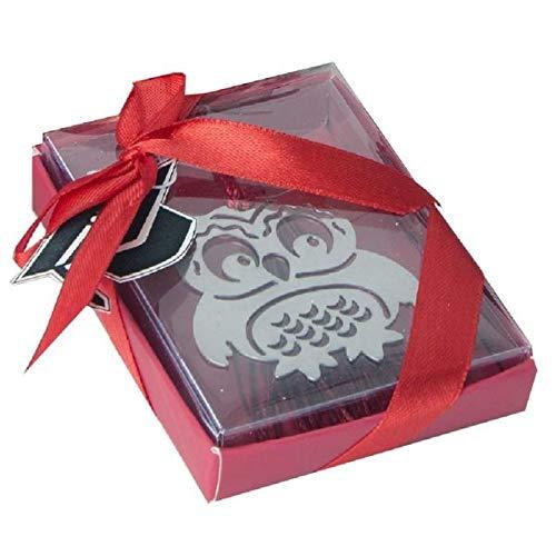 6 PZ Segnalibro Laurea a forma di gufo in scatola regalo BOMBONIERA