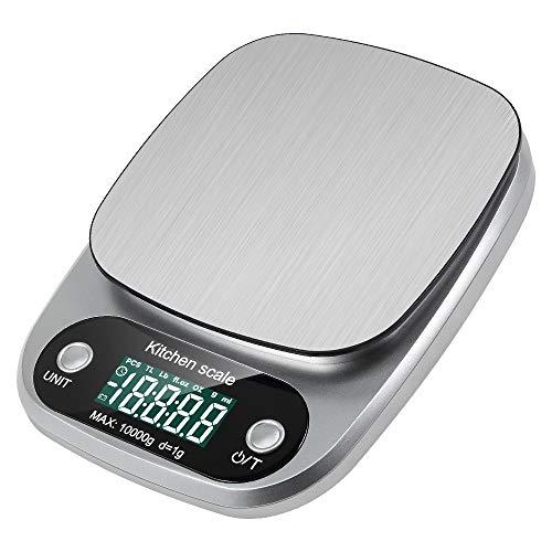lavuky Digital de Cocina – Báscula digital de alimentos, DK04 presupuesto Báscula 10 kg Báscula de cocina digital Pantalla LCD automático de acero inoxidable Herramienta de medición