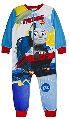 Boys Fleece Character Onesie Pyjamas Childrens All In One Pj's Size Thomas the Tank Engine - Railway 3-4 Years
