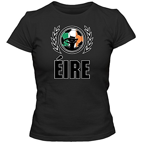 Irland WM 2018#2 T-Shirt | Éire | Fußball | Damen | The Boys in Green | Trikot | Nationalmannschaft, Farbe:Schwarz (Deep Black L191);Größe:S -