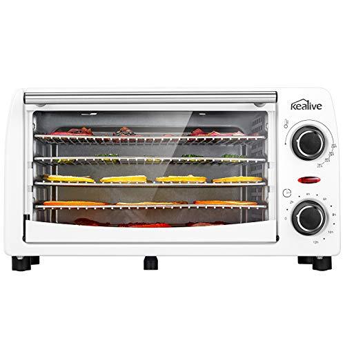 Kealive essiccatore, essiccatore alimenti, acciaio inossidabile essiccatore professionale con 5 vassoio e 9 litri capacità, temperatura da 48 a 78 °c e tempo di controllo, 300w