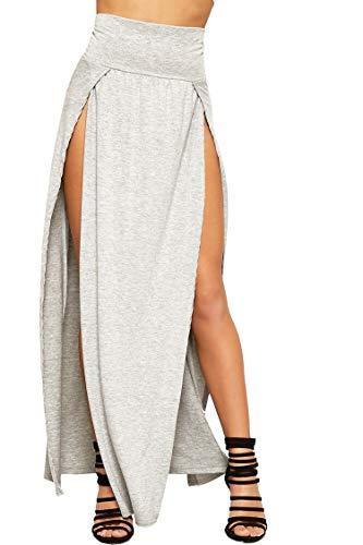 Loxdonz Damen Elastische Taille Maxi Langer Einfarbig Sommerrock Partei Dehnbar Rock (Medium, Hellgrau)
