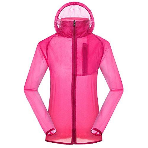 Dihope Femme Homme Jacket Veste Transparente Respirante Coupe-Vent Softshell à Capuche Manches Longues OutwearCasual Anti-UV pour Couple Fuchsia