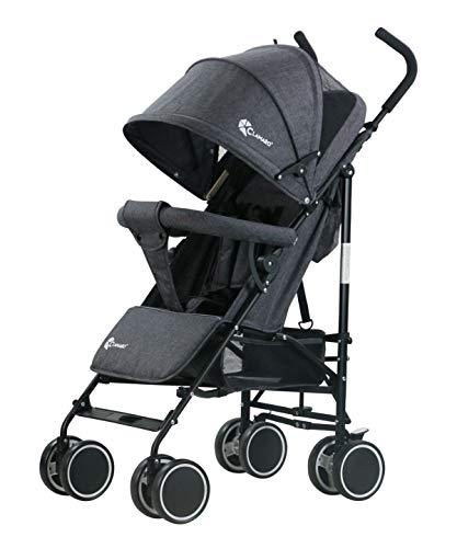 Clamaro \'Balu\' superleichter Kinderwagen kompakt Buggy (6,5 kg) mit Liegefunktion, klein zusammenklappbar, Rückenlehne stufenlos verstellbar bis Liegeposition - anthrazit leinen
