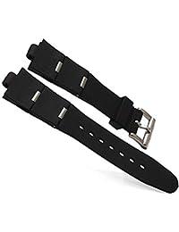 GOZAR Silicone Watch Band Cinturino, Colore Nero Per Orologi Bvlgari-Argento-22Mm