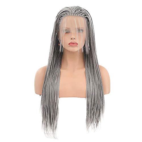 lenspiel Wig Grau DREI Stränge Braid Long Wig Hochtemperatur Seiden Komfort Elastisches Netz 24 Zoll ()