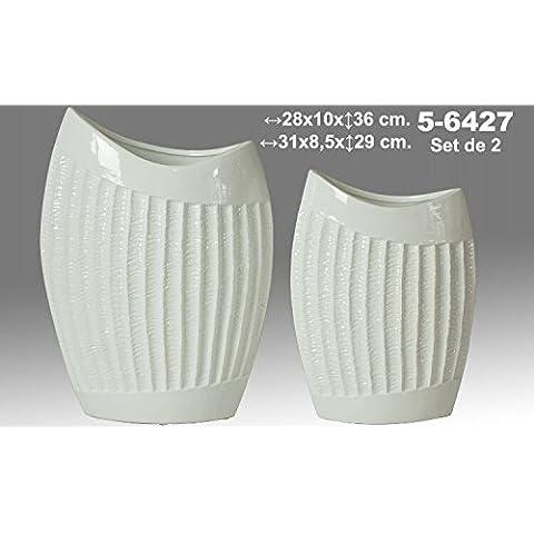 DonRegaloWeb - Set de 2 jarrones de cerámica de terracota decorados en color blanco
