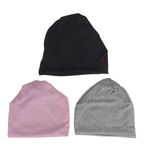 LIOOBO 3 stücke Nahtlose einfarbig Gesichtsmaske staubdicht Stirnband multifunktionale Hut armreif Manschette für Winter Herbst (rosa schwarz grau)