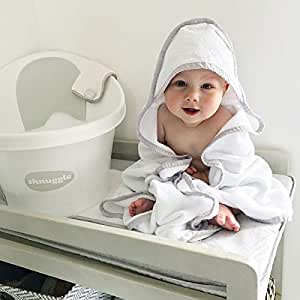 Shnuggle SHN-TWL-WHT asciugamano con cappuccio per bambini, bianco