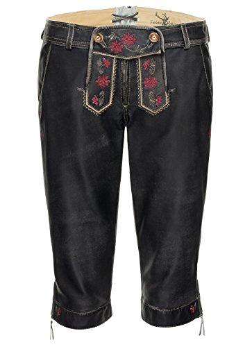 Spieth & Wensky - Kurze Damen Lederhose , Ferike-H Da (291800-1201) schwarz-grau/St sand/rot (5332)