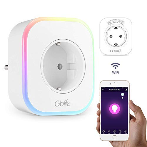 Presa Intelligente WiFi con USB, GBlife Smart Wifi Plug, Controllo Remoto/Controllo Vocale, con Interruttore e Timer, LED RGB, Compatibile con Google Home/Amazon Alexa/IFTTT/iOS/Android