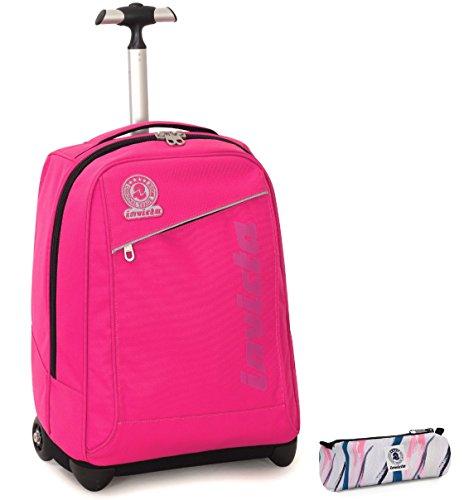 Trolley invicta + portapenne - rosa - spallacci a scomparsa! 2in1 zaino 35 lt scuola e viaggio