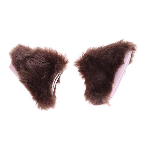ODN Süße Katze Ohr Clip in Cosplay Haar Zusätzen Cat Ears (Kaffee)