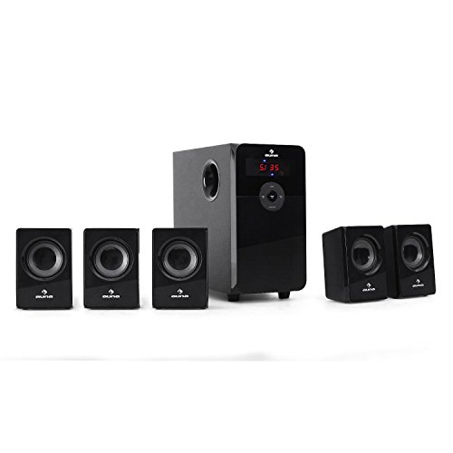 "auna HF583 • 5.1 Surround Sound System • Heimkinosystem • 70W RMS Leistung • 10cm(4"") Side-Firing-Tieftöner • Bassreflex • 2 Betriebsmodi: 2.1/5.1 • 5 Satellitenlautsprecher • UKW-Radiotuner • MP3-Port • SD-Kartenslot • Sleeptimer • Fernbedienung • schwarz"