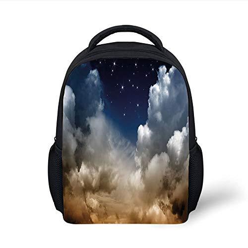 Kids School Backpack Night Sky,Desert Clouds Starry Nocturnal Sky Galaxy Nebula Stars Image Decorative,White Brown Dark Blue Plain Bookbag Travel Daypack -
