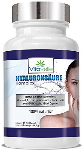 ex+ 90 VEGANE Kapseln I Vitamin A,C,D,E + Hyaluronsäure + Biotin + Zink I Für Haut · Gelenke · Anti Falten | Hautstraffung I Gelenkschmiere I Hyaluron-booster I Gelenkflüssigkeit ()
