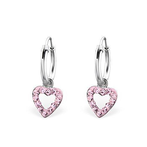 Rosa–Peluche con Corazón Pendientes de aro de cristal plata de ley
