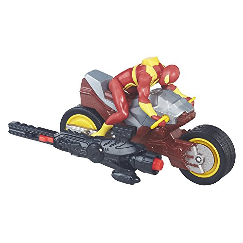 Marvel - Ultimate Spider-Man: Sinister 6 - Blast N' Go Racers - Iron Spider Actionfigur + Repulsor-Cycle -