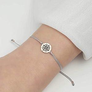 SCHOSCHON Damen Armband Kompass 925 Silber rosevergoldet // Weihnachtsgeschenke Mama Mutter Schmuck Textilarmband Windrose Himmelsrichtungen Geschenk