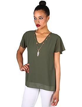 KRISP Top Mujer Verano Blusa Manga Corta Camisa Transparente Camiseta