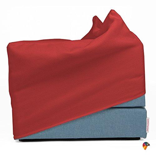 Arketicom touf blu pouf letto singolo che diventa puff e poltrona pieghevole poggiapiedi ospiti o tavolino pouffe camera futon. puff cubo richiudibile salvaspazio rettangolare pouf design moderno fodera esterna rivestimento inclusa demin jeans tessuto (63x63x45, rosso ferrari)