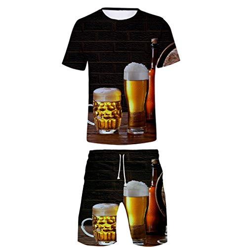 Herren 3D Bier Gedruckt T Shirts Hemd Shorts Urlaub Strand Freizeit 8 Sätze Bayerischen Oktoberfest Festliche Party Tops Oberteile Hose Kostüm Nachtclub Bar Club Karneval Trachten