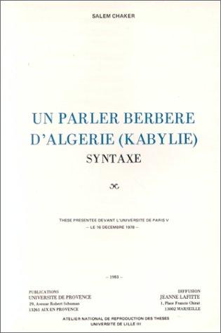 Un parler berbère d'Algérie, Kabylie : syntaxe