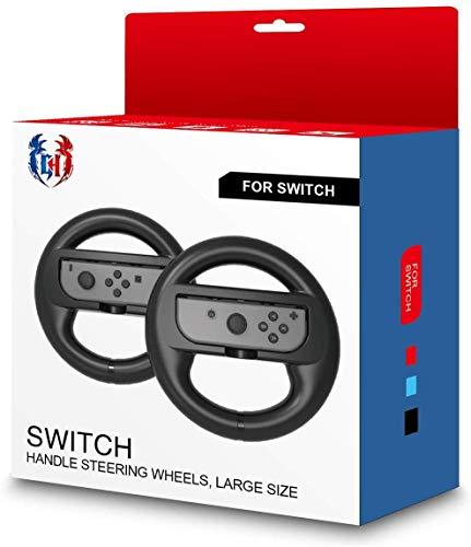 GH Switch Lenkrad für Mario Kart 8 Deluxe, Switch Racing Wheel für Nintendo Joy Con Controller, Schwarz x 2 Schwarz Large Black x 2 for Adults (Racing Wheel 8 Mario Kart)