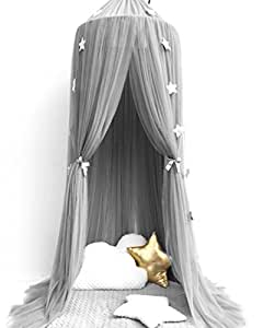 Bed Canopy, Pupow Cotton Round Dome Mosquito Net Kids Reading Nook Play Tents Hanging Curtain For Baby Children Bedroom Decoratioin (Grey)