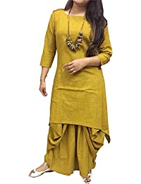Shree Collection Salwar Suit Yellow Colour Designer Indo Western Dress(Full Stich)