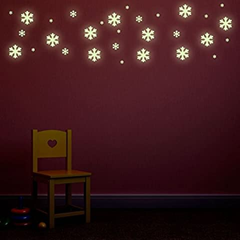 Supertogether Glow In The Dark Snow Flake Wall Stickers - Frozen Bedroom Theme Repositionable Decals (Pack of 30)