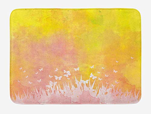 TKMSH Watercolor Bath Mat, Spring Meadow with Silhouette of Flower Grass and Butterfly Artwork, Plush Bathroom Decor Mat with Non Slip Backing, Earth Yellow Pale Pink,19.6X31.4 inch/50 * 80cm Butterfly Meadow Bunny