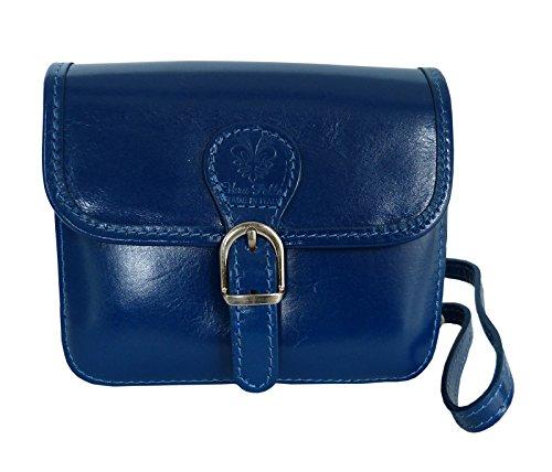 Elegante Echt Leder Trachtentasche mit Fleur des Lys oder Edelweiss fürs Dirndl - Rindsleder Eckig - Blau