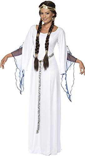 Smiffy's 33409L - Damen Mittelalterliche Magd Kostüm, Kleid, Gürtel und Haarband, One Size, weiß