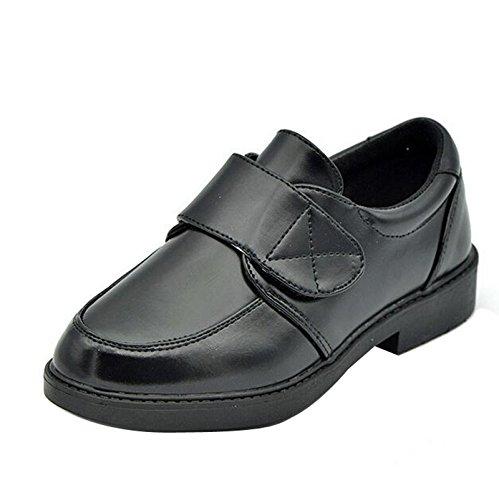 Gaorui Kinder Jungen festliche Schuhe Leder Halbschuhe Kommunionsschuhe Schwarz Schwarz