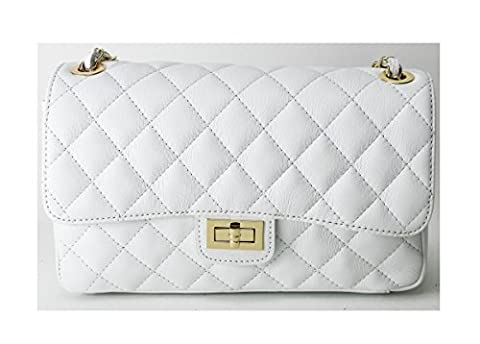 Genuine Italian Leather Shoulder Bag Quilted Padded Gold Chain Women's Luxury Fashion Handbag Purse