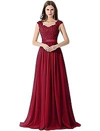 MisShow Robe Femme Elégante de Mariage Soirée Demoiselle d honneur Longue  Maxi en Mousseline Florale Ajourée avec Dentelle… 27cb54b42b7