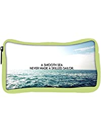 Snoogg Eco Friendly Canvas Smooth Sea Designer Student Pen Pencil Case Coin Purse Pouch Cosmetic Makeup Bag