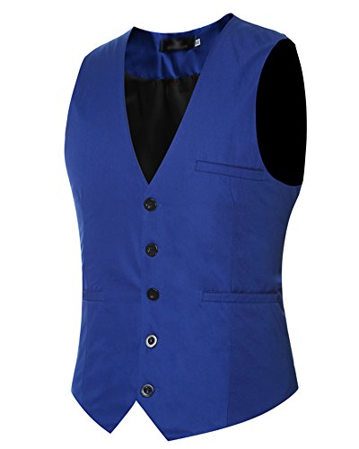 Uomo Leisure Panciotto Gilet Slim Fit Casual Elegante Smanicato Cerimonia Matrimonio Giacca Blazer Corpetto Blu Zaffiro