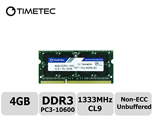 Timetec Hynix IC 4GB DDR3 1333MHz PC3-10600 Unbuffered Non-ECC 1.5V CL9 2Rx8 Dual Rank 204 Pin SODIMM Laptop / Notizbuch Arbeitsspeicher Module Upgrade (4GB) Ddr3 4g Laptop