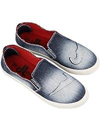 Birde Navy Blue Denim Casual Slip On Shoes For Men