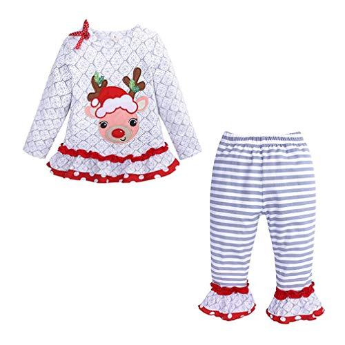 Gagacity Weihnachts Anzug für Baby Mädchen Zweiteilig Weihnachtskleidung Rock + Hosen Outfit 80-120CM